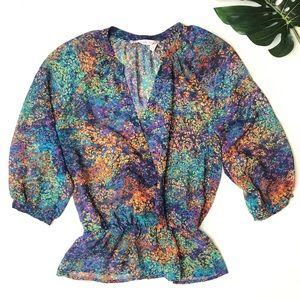 Chelsea and Violet Peplum Multicolor Sheer Blouse